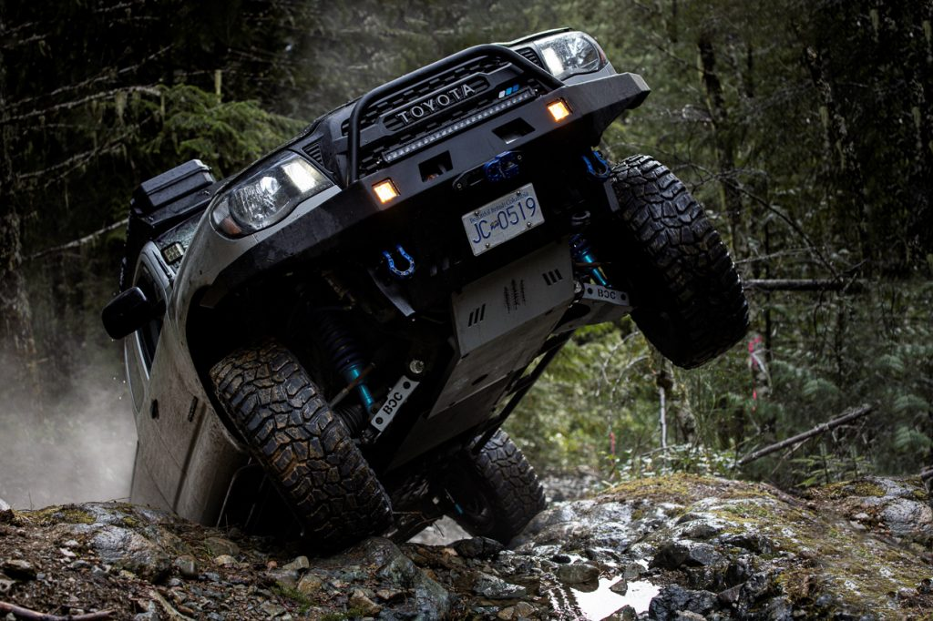 Silver Streak Mica 2nd Gen Toyota Tacoma with Coastal Off-Road Front Bumper & King Coilover Shocks