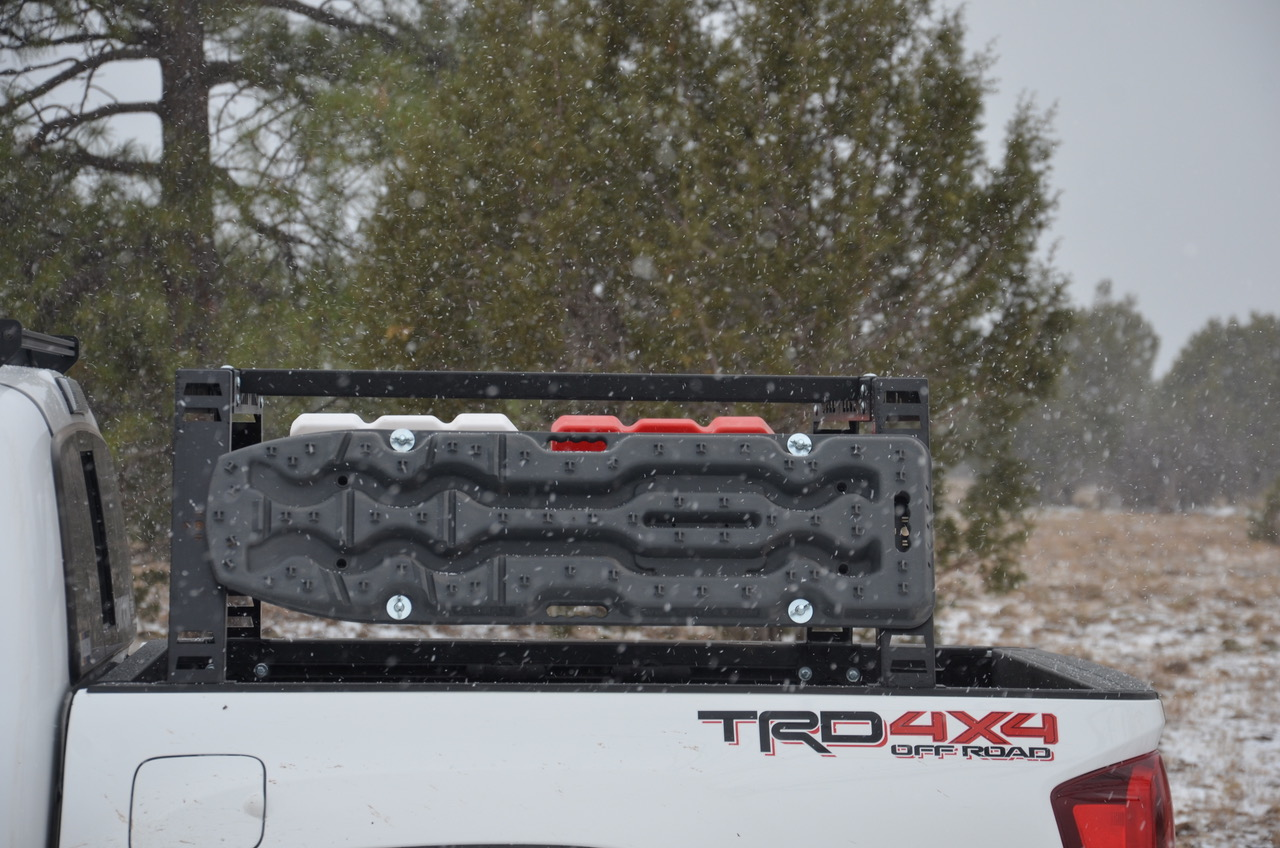 Super White 3rd Gen Tacoma with Hobbs Off-Road Bed Rack with Exitrax Ultimate Series Recovery Boards