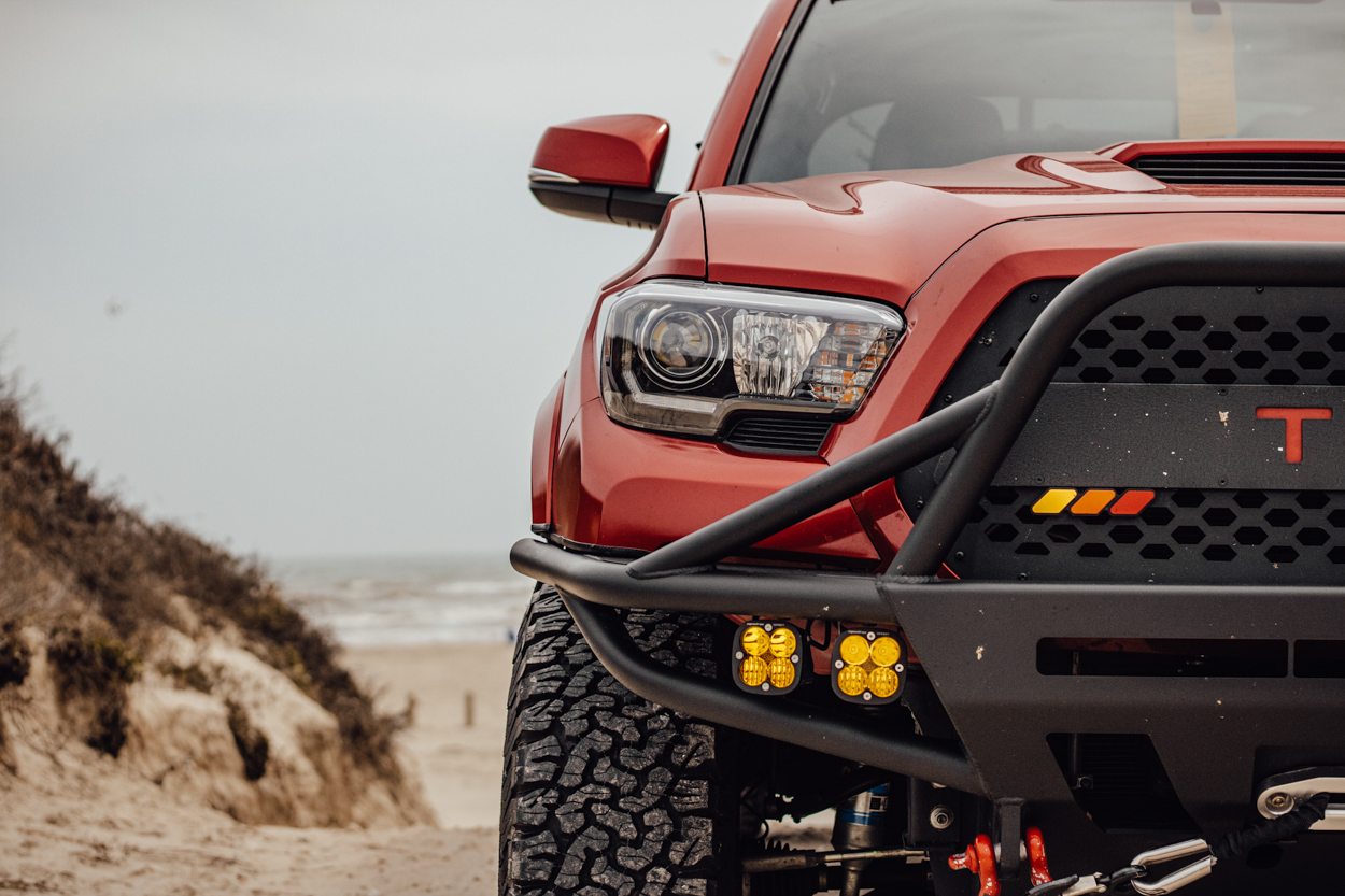 Barcelona Red Metallic 3rd Gen Tacoma with USR Blacked Out LED Headlights & C4 Front Hybrid Bumper with Baja Designs LEDs