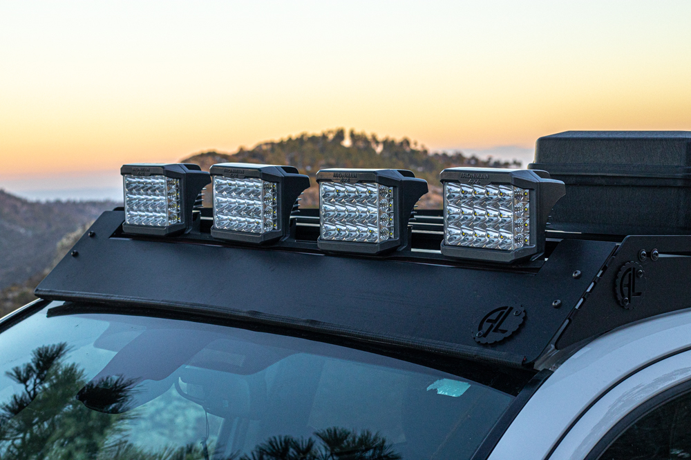 Ironman 4x4 Eclipse LED Driving Lights Mounted on AL Offroad Aluminum Onyx Roof Rack
