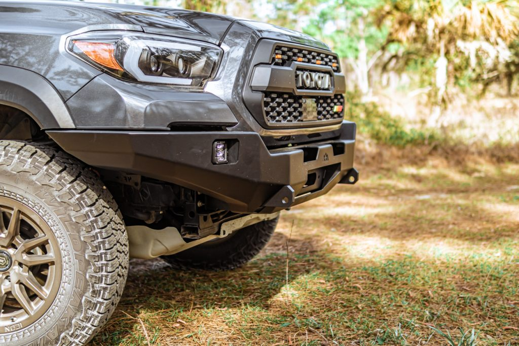 Lifted Magnetic Gray Metallic (MGM) 3rd Gen Tacoma with Backwoods Adventure Mods Hi-Lite Aluminum/Steel Front Bumper