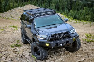 2nd & 3rd Gen Tacoma Roof Rack Options - Front Runner Outfitters Roof Rack on Double Cab 3rd Gen Tacoma with Bed Topper