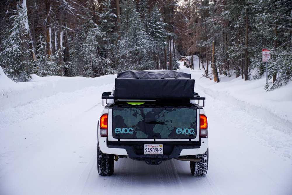 3rd Gen Tacoma with EVOC Tailgate Pad, KB Voodoo Hi-Rise Bed Rack & Snowboard Mount
