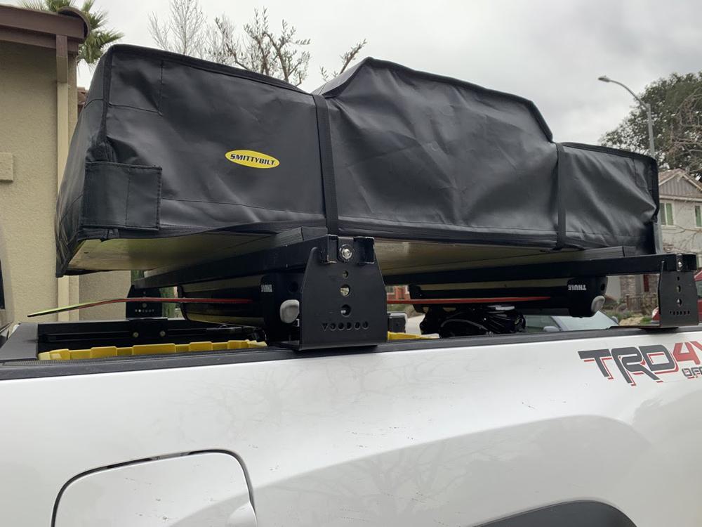 KB Voodoo Hi-Rise Bed Rack with Smittybuilt RTT & Thule SnowPack Rack