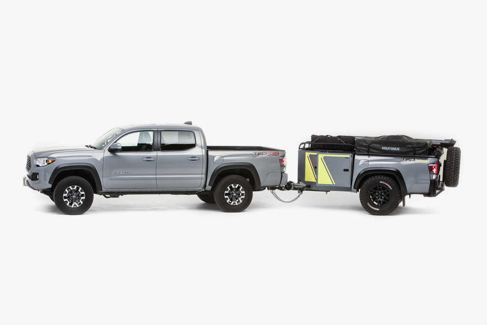 Cement 3rd Gen Tacoma with TRD Sport Trailer from SEMA 2020