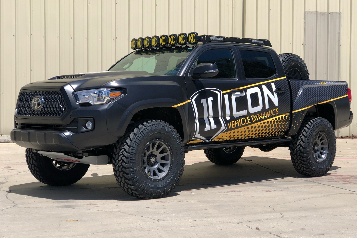 Lifted 3rd Gen Tacoma with KC HiLites M-Rack & Gravity LED Bar & Icon Alloys Wheels