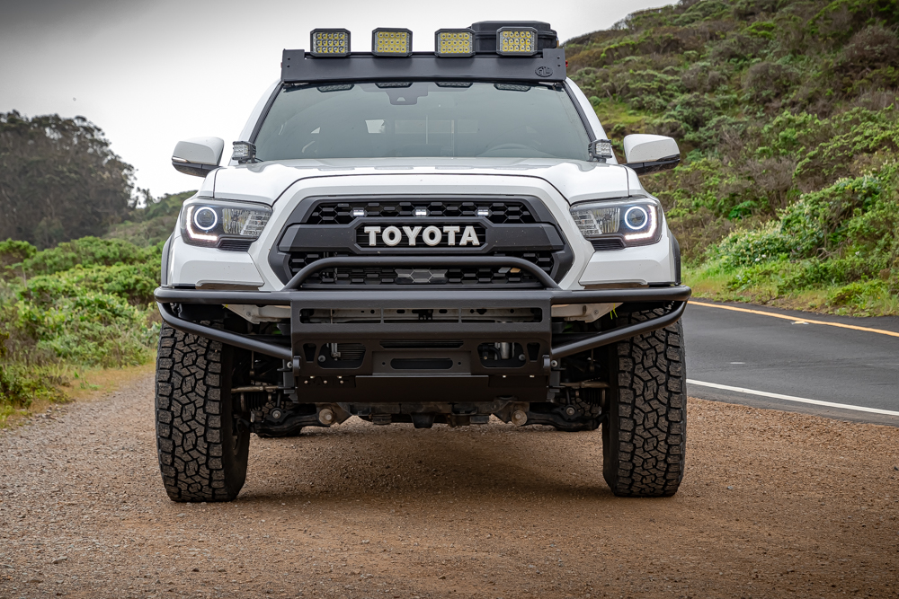 3rd Gen Tacoma with Bay Area Metal Fabrication (BAMF) Hybrid Front Bumper & Ironman LED Auxiliary Lights