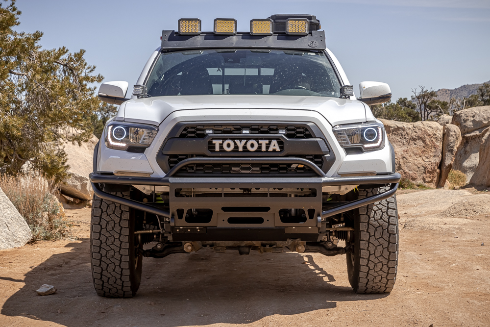 Super White 3rd Gen Tacoma with BAMF High Clearance Hybrid Front Bumper, AL Offroad Roof Rack & Ironman 4X4 LED Lights