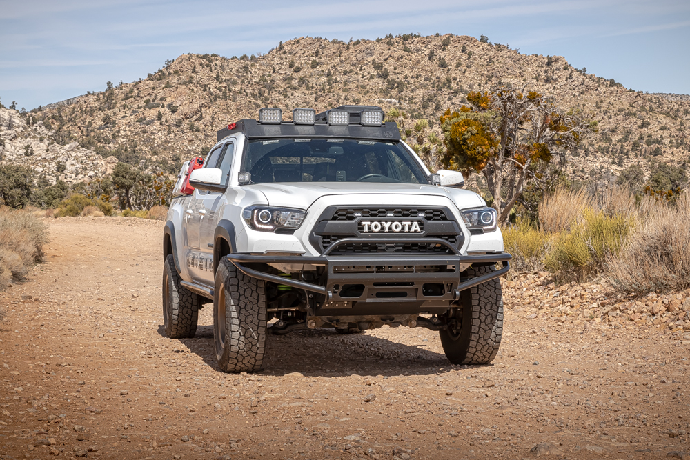 Lifted 3rd Gen Tacoma with AL Offroad Roof Rack & BAMF Hybrid Front Bumper