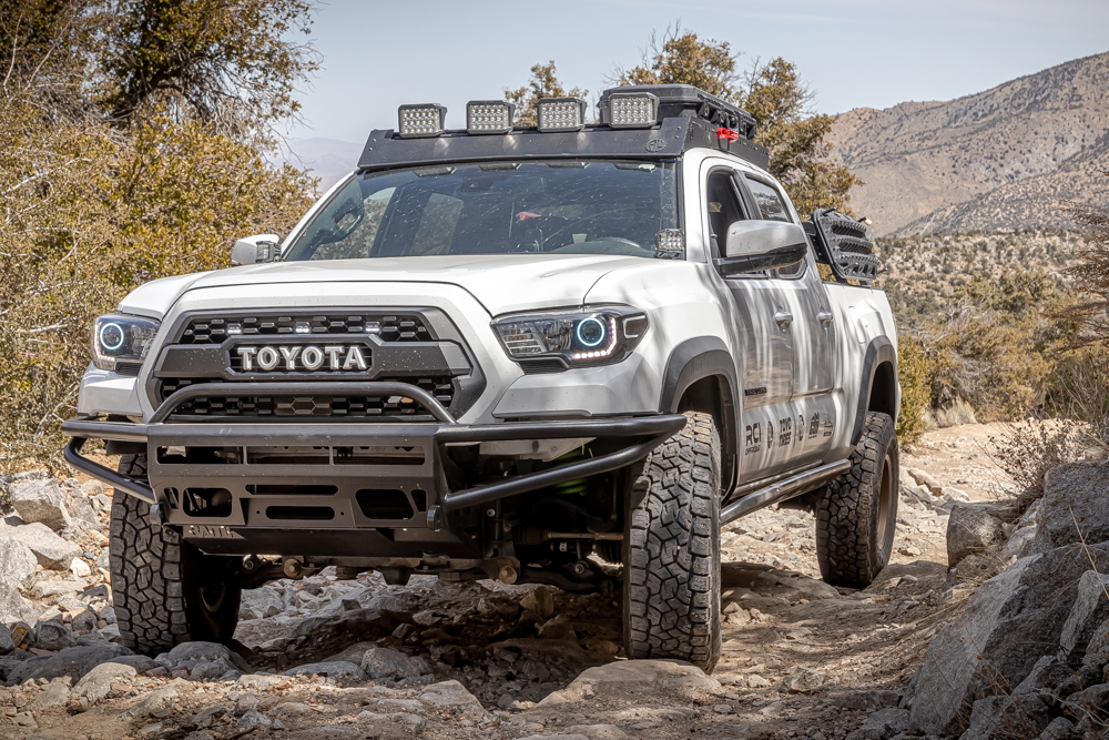 3rd Gen Tacoma with BAMF Hybrid Front Bumper, AL Offroad Low Profile Roof Rack & Ironman 4X4 LED Lights