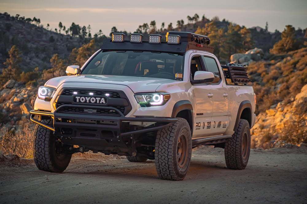 Super White 3rd Gen Tacoma with Bay Area Metal Fabrication (BAMF) Hybrid Front Bumper & Ironman 4X4 LED Lights