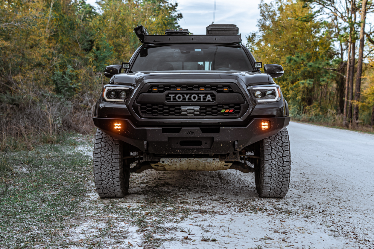 MGM 3rd Gen Tacoma with Backwoods Adventure Mods High Clearance Hybrid Steel & Aluminum Hi-Lite Front Bumper