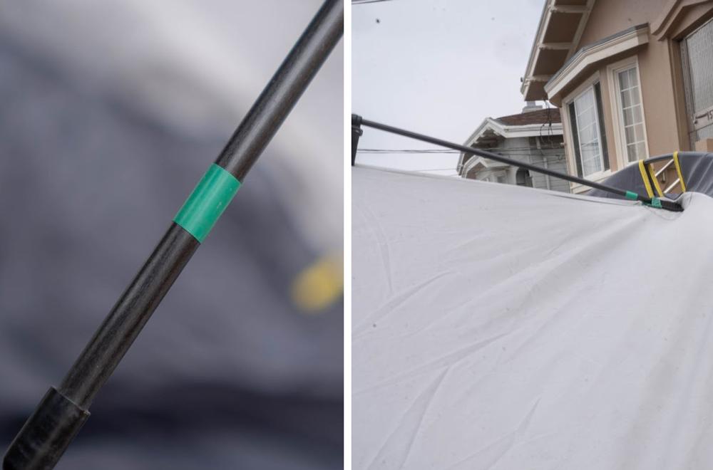 Offroading Gear Truck Tent - Green Tent Pole Install