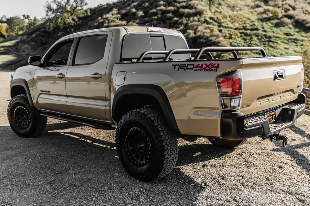 LIfted Quicksand 3rd Gen Tacoma with Relentless Fabrication Bed Cargo Cross Bars & TRD Pro Taillights