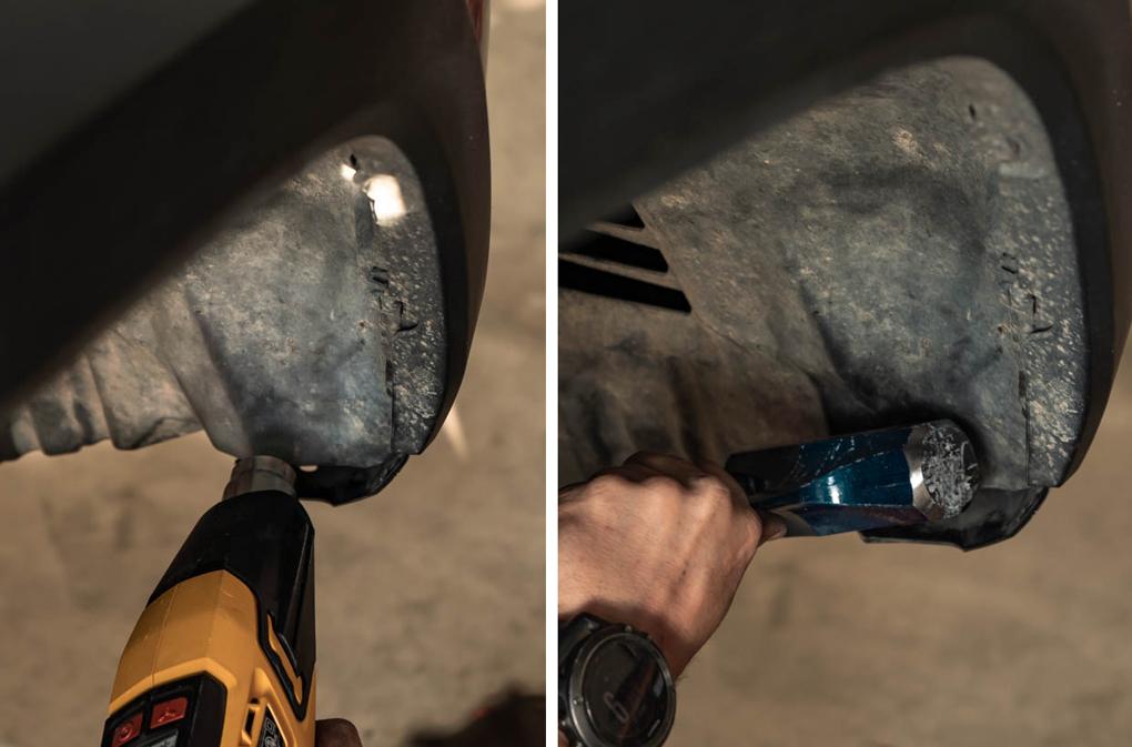 Heat Gun and Hammer Fender Liner Push Back