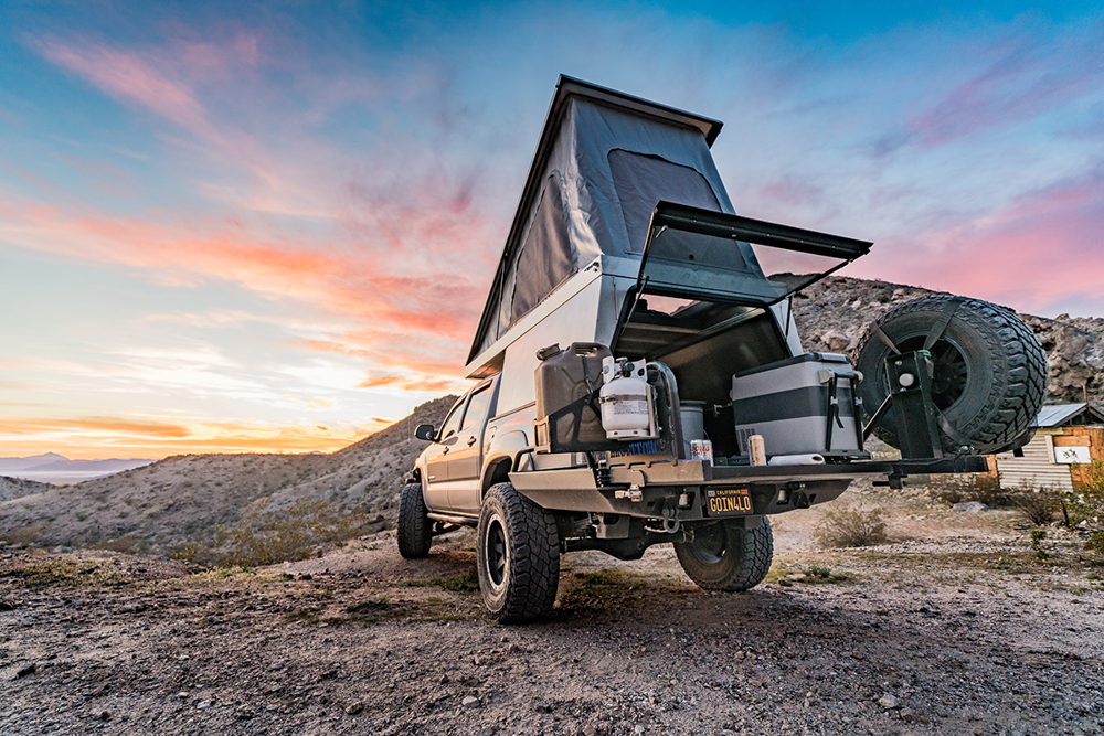 Lifted Toyota Tacoma with The Drifter Camper from Vagabond Outdoors