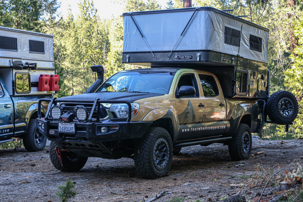 Lifted 2nd Gen Tacoma with Four Wheel Pop-Up Camper & ARB Front Bumper
