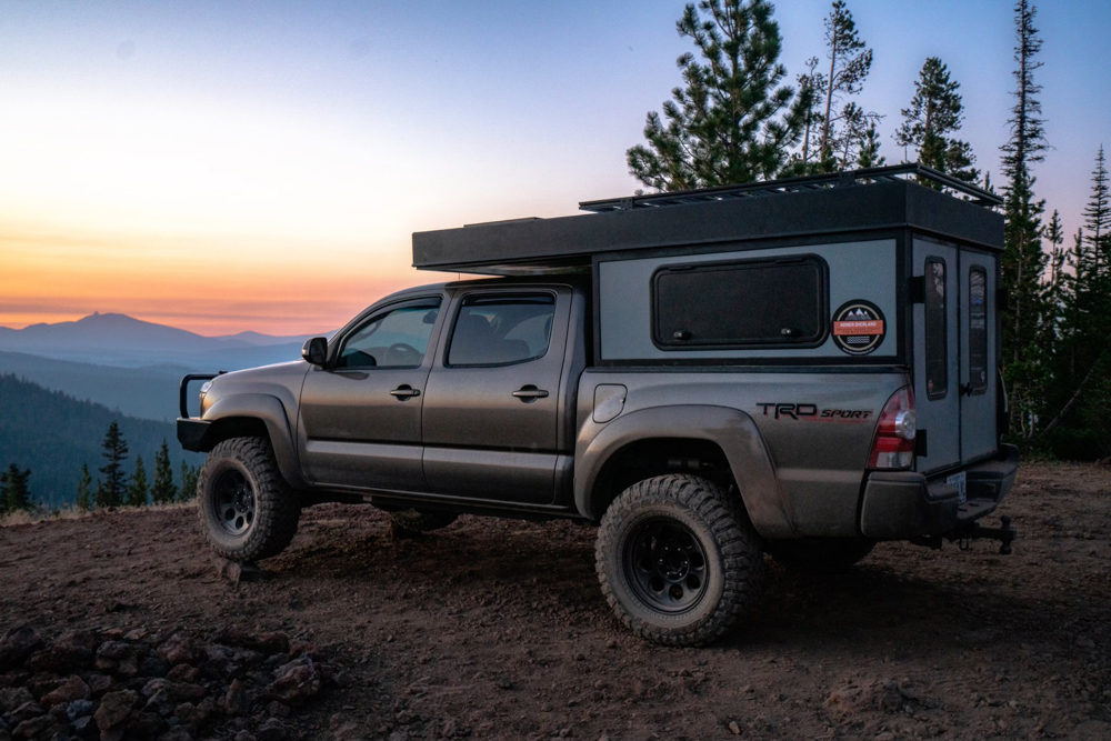 Lifted 2nd Gen Tacoma with Hower Built Electric Base Camp Camper