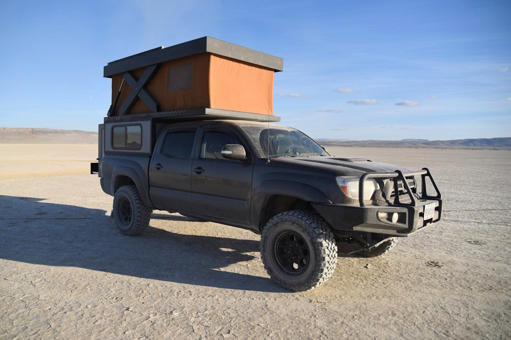 Lifted 2nd Gen Tacoma with ARB Front Bumper & Hower Built Base Camp Camper