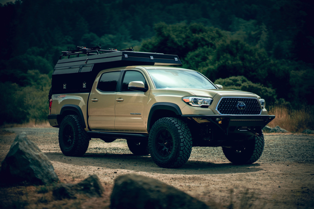 Lifted Quicksand 3rd Gen Tacoma with TrailFort TF Alpha Camper