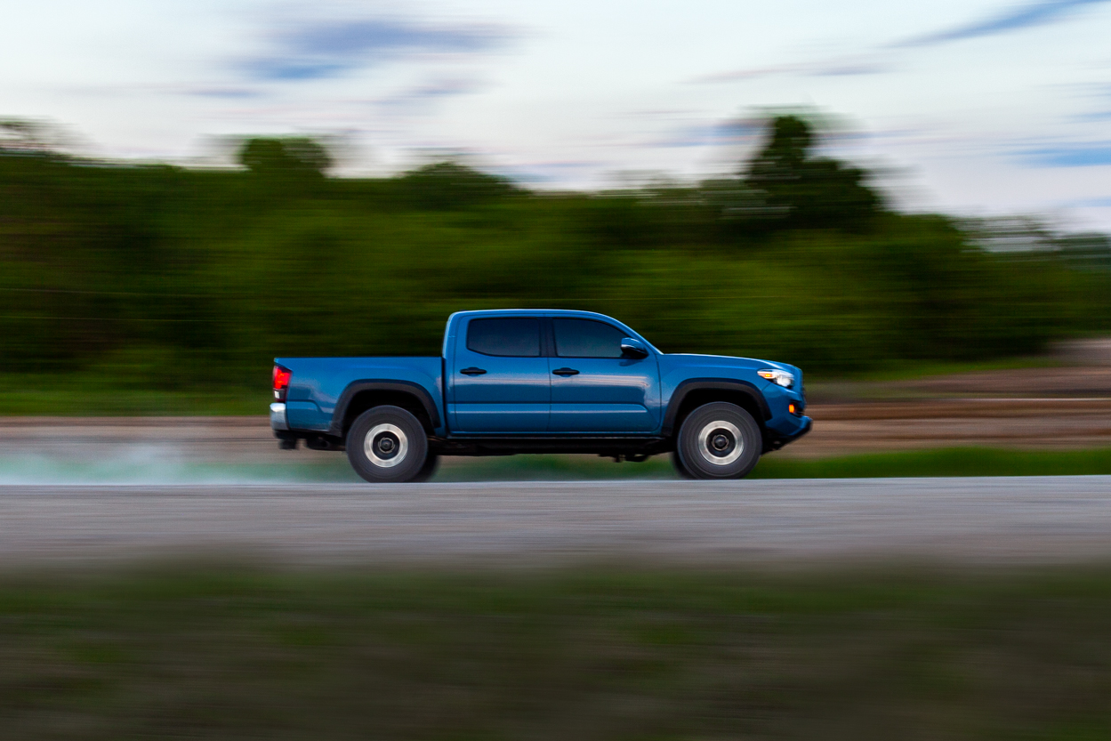 TRD Off-Road Cavalry Blue 3rd Gen Tacoma Rolling Action Shot (Roller)