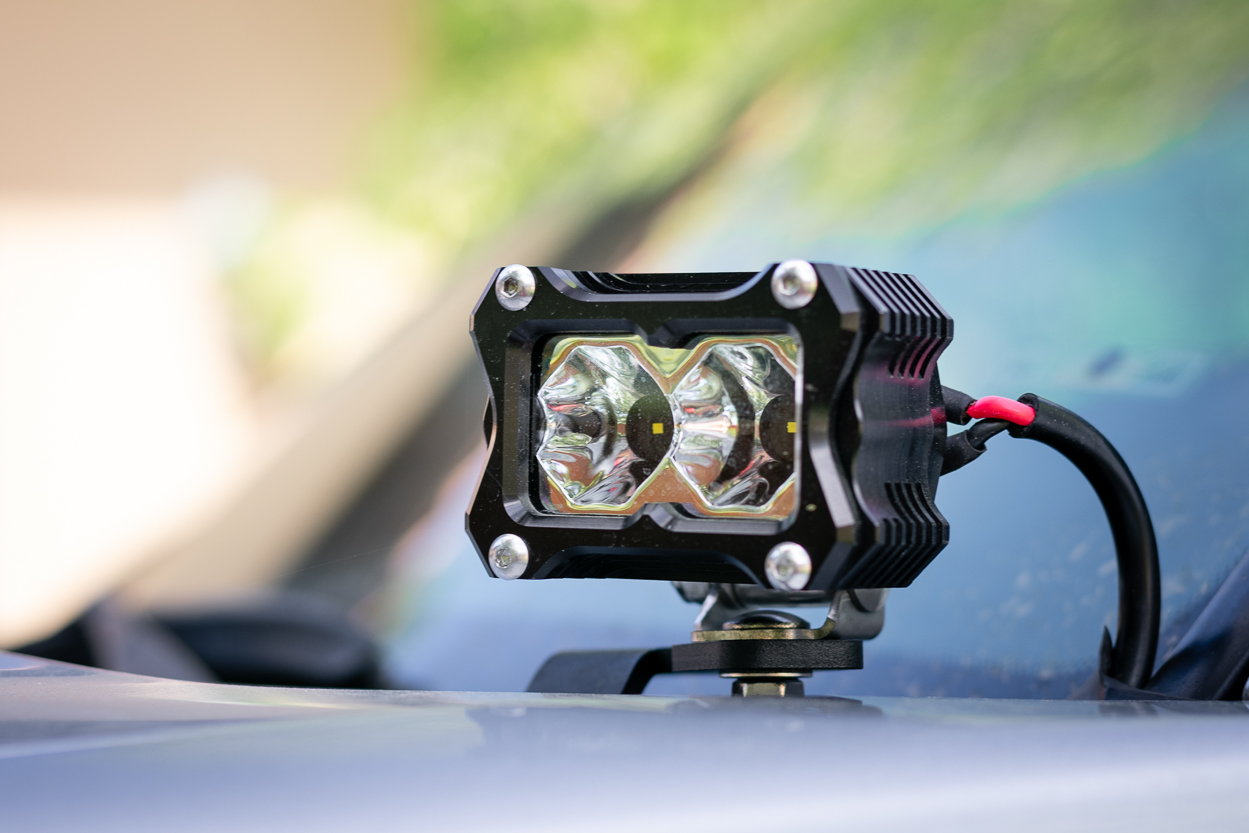 Heretic Studios BA-2 LED Light Pods on Cali Raised Ditch Light Bracket for 3rd Gen Tacoma
