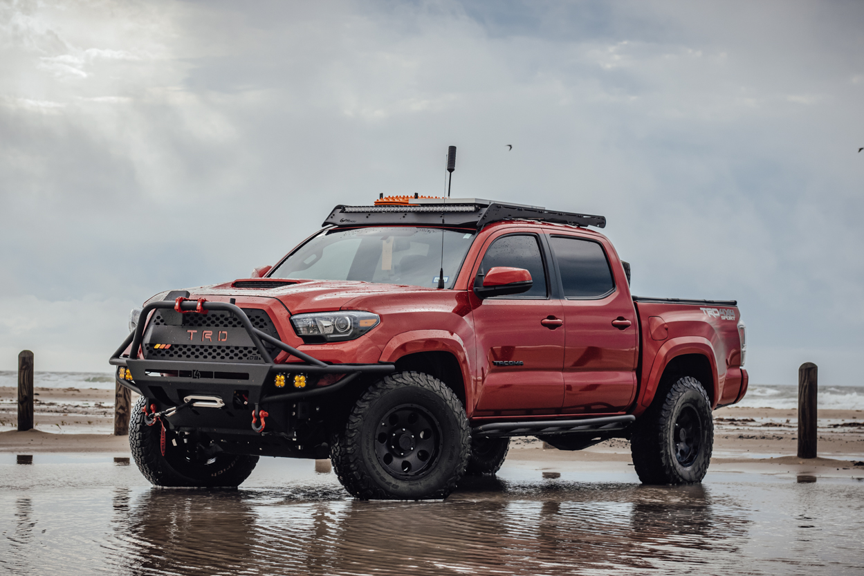 Lifted 3rd Gen Tacoma with Prinsu Roof Rack & C4 Fabrication Front Hybrid Bumper with Warn Winch
