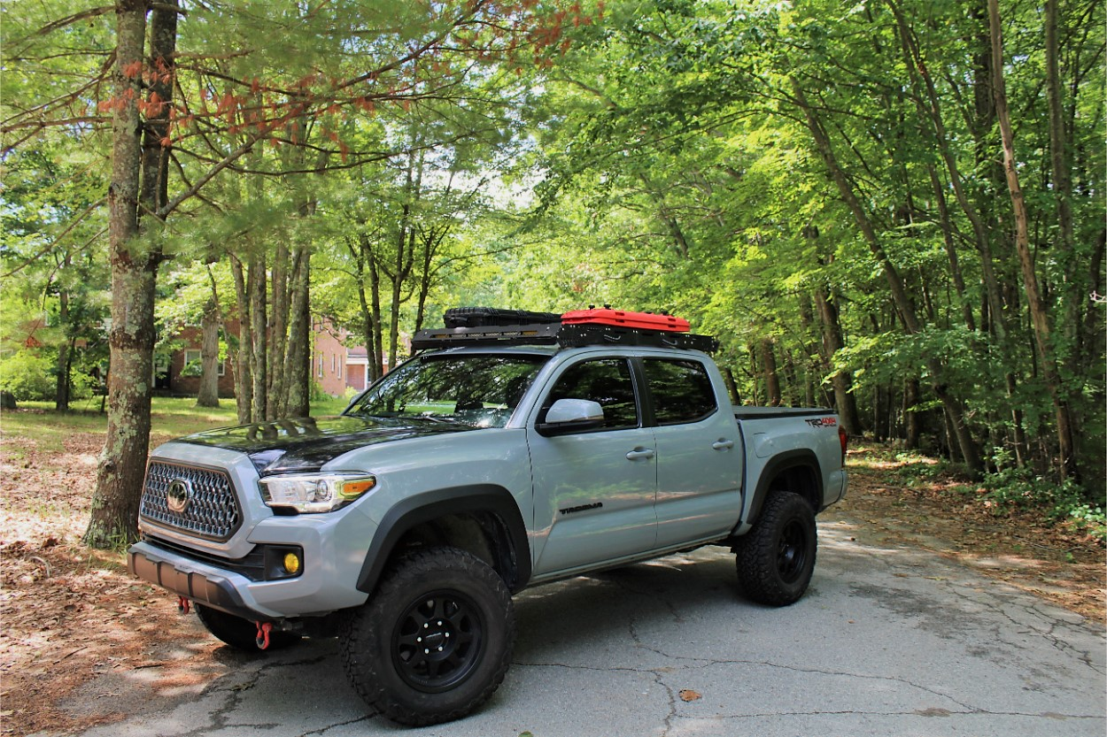 Lifted 3rd Gen Tacoma with upTOP Overland Roof Rack & BFG AT T/A KO2 Tires