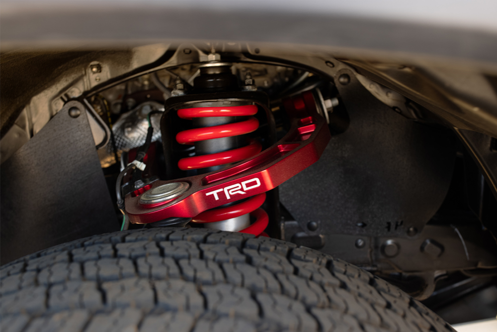 TRD Pro FOX Internal Bypass Shocks/Coilovers with New TRD Forged Aluminum Upper Control Arms (UCAs)