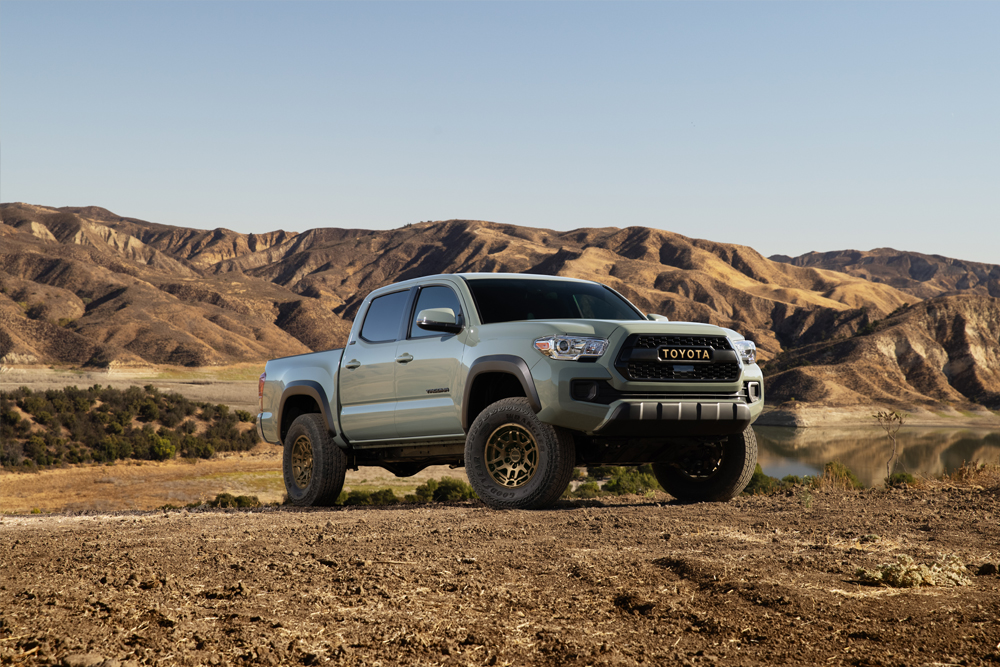 All New 2022 Toyota Tacoma Trail Edition in Lunar Rock with New Bronze TRD Off-Road Wheels