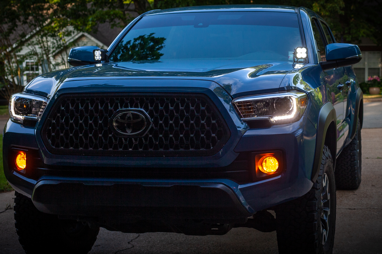 """Cavalry Blue 3rd Gen Tacoma with Lamin-X Amber Fog Light Film & Lasfit 3"""" LED Pods"""