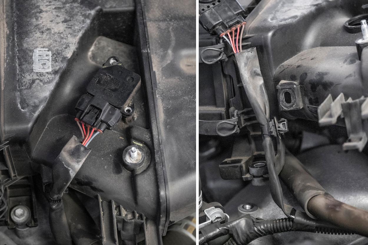 Remove the MAF sensor and harness