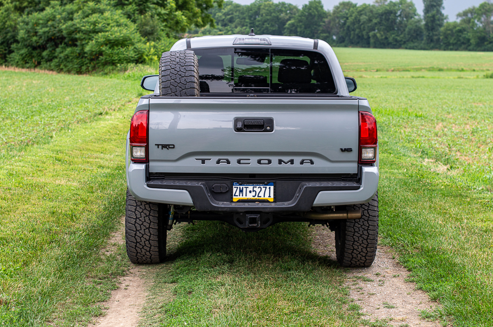 Cement 3rd Gen Tacoma with Spare Tire Mounted with Bed Rail Mount