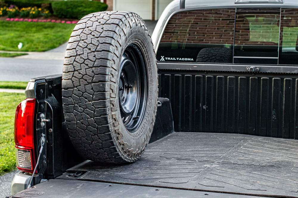 Spirit of 1876 Truck Bed Mounted Spare Tire Mount on 3rd Gen Tacoma