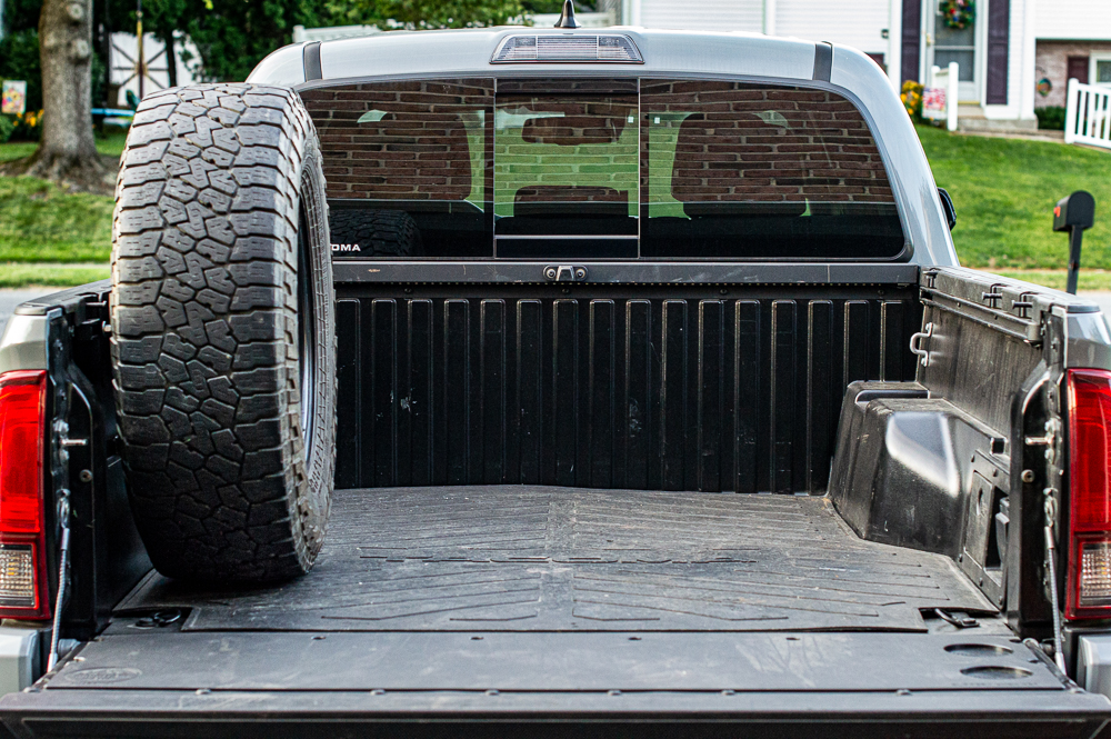 Truck Bed Rail Spare Tire Mount on 3rd Gen Toyota Tacoma