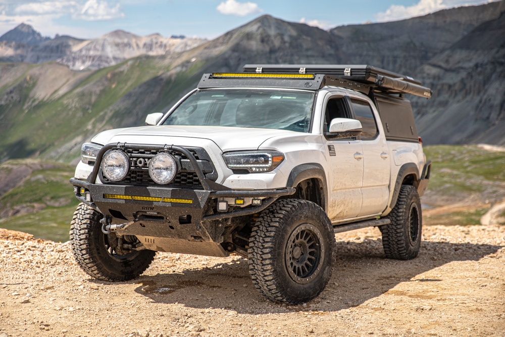 3rd Gen Tacoma with Relations Race Wheels Hybrid Front Bumper, DOM Rock Sliders & RR6-H Wheels