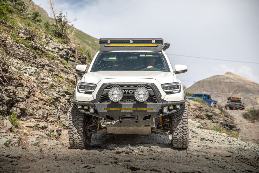 3rd Gen Tacoma with RRW Hybrid Front Bumper, Lightforce HTX 2s & AL Offroad Aluminum Roof Rack