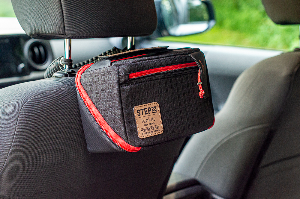 Step22 Tenkile Tech Pouch Mounted to Headrest in 3rd Gen Tacoma