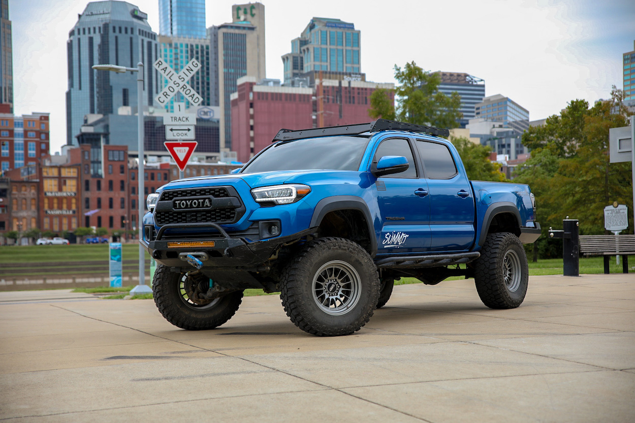6-Inch Drop Bracket Lifted Tacoma with Summit Wheels & High Clearance Front Bumper