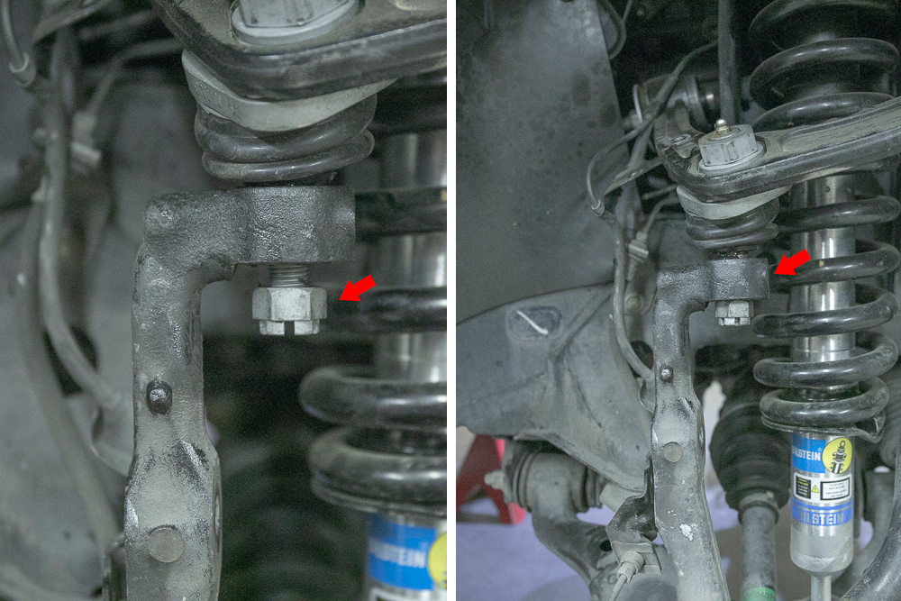 Leave Castle Nut on Upper Control Arm Bolt - Knocked Loose with Hammer